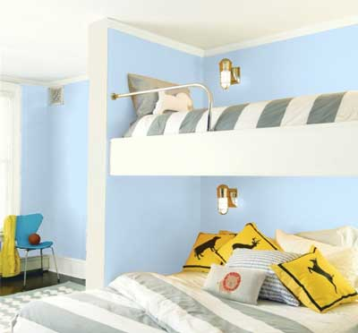 light blue bedroom- benjamin moore jet stream
