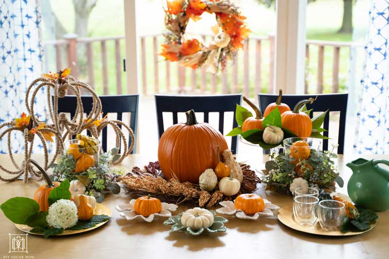 beautiful fall table decorations with harvest wreath