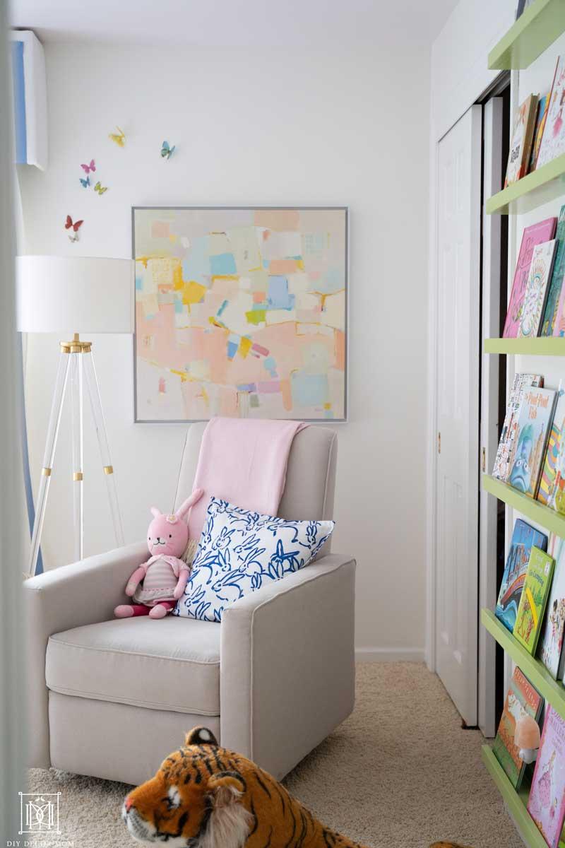 rocking chair glider in baby girl room decor ideas
