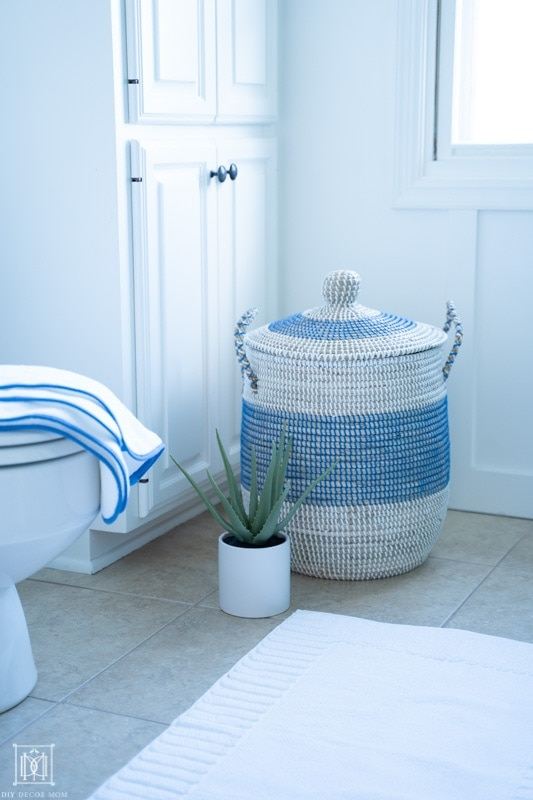 beautiful blue and white woven basket in guest bathroom with aloe vera plant and white bath mat