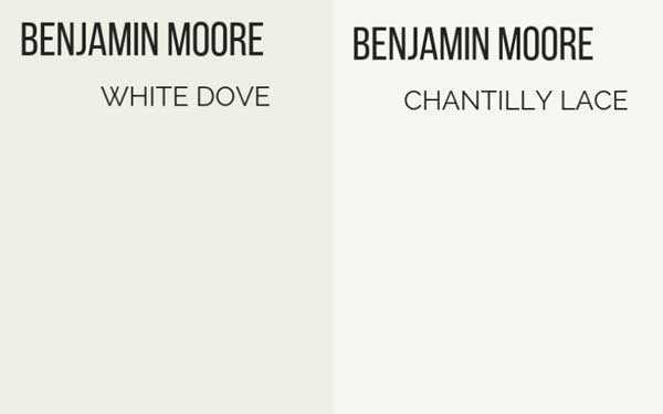 benjamin moore white dove vs. chantilly lace