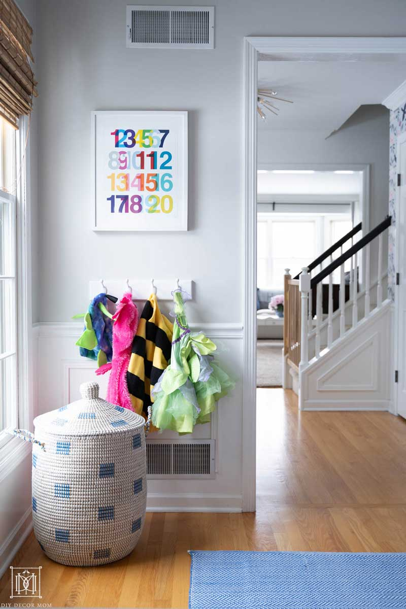 playroom storage solutions with woven basket