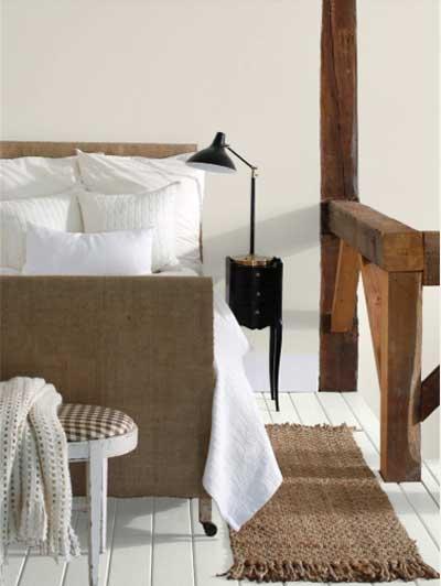 Pale Oak BM bedroom with modern light and vintage wood railing