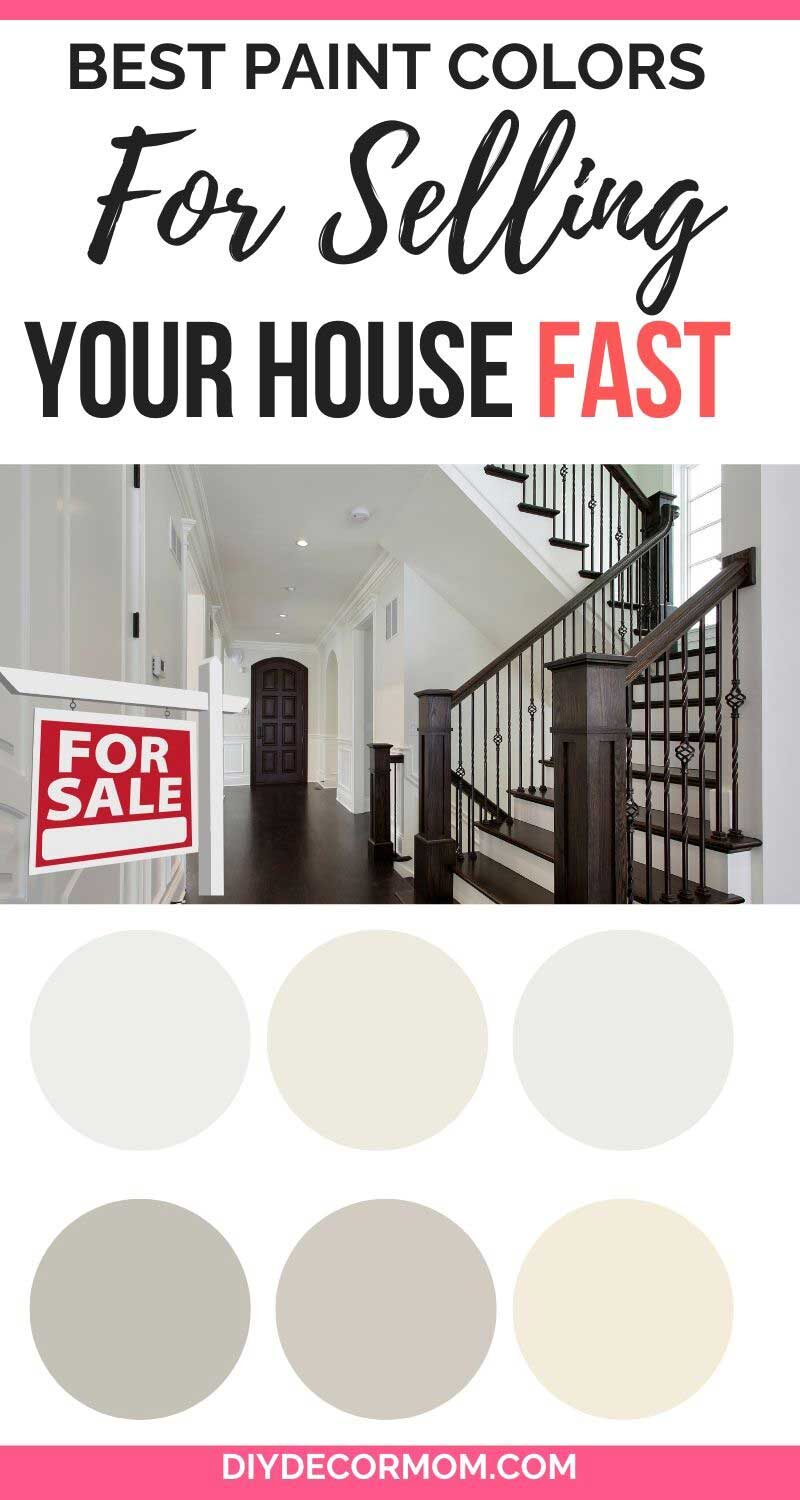 best paint colors for selling your house fast--picture of neutral paint colors with gorgeous staircase in new construction home with dark floors