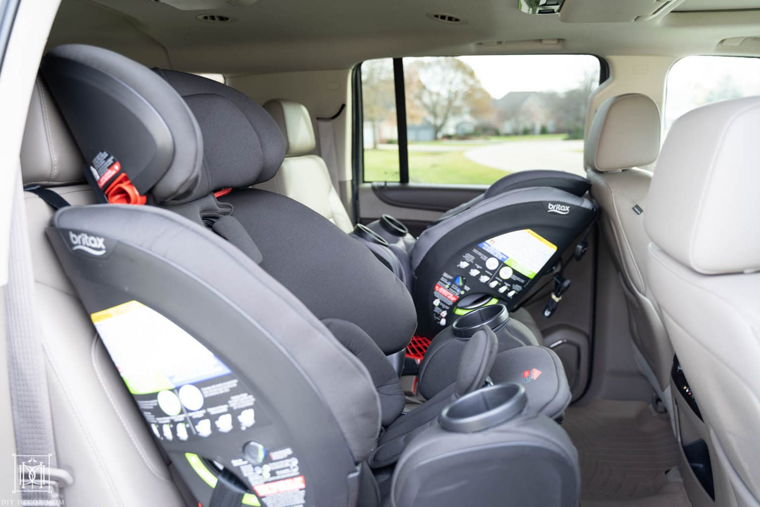 car seats in a suburban
