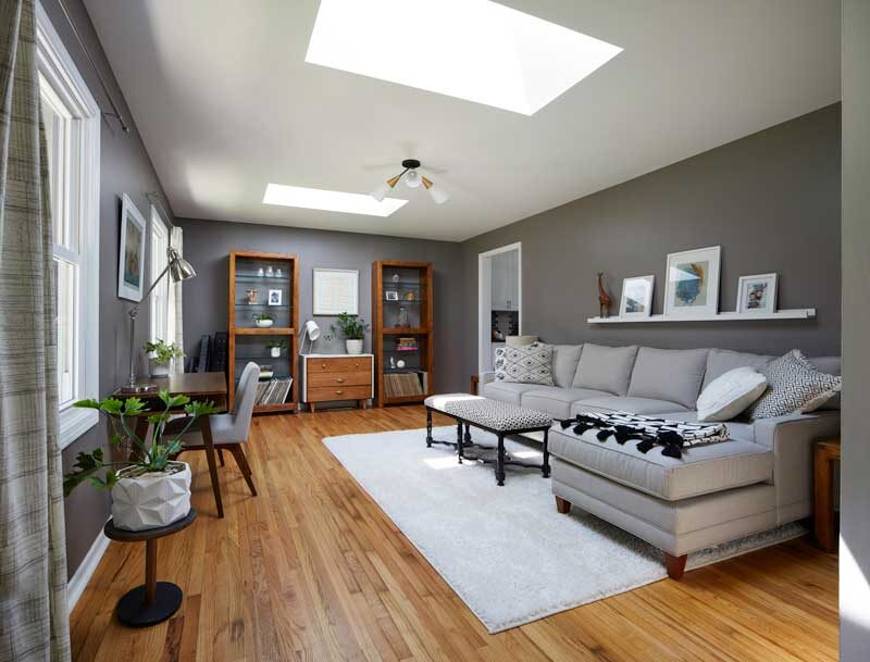 gray living room with skylights