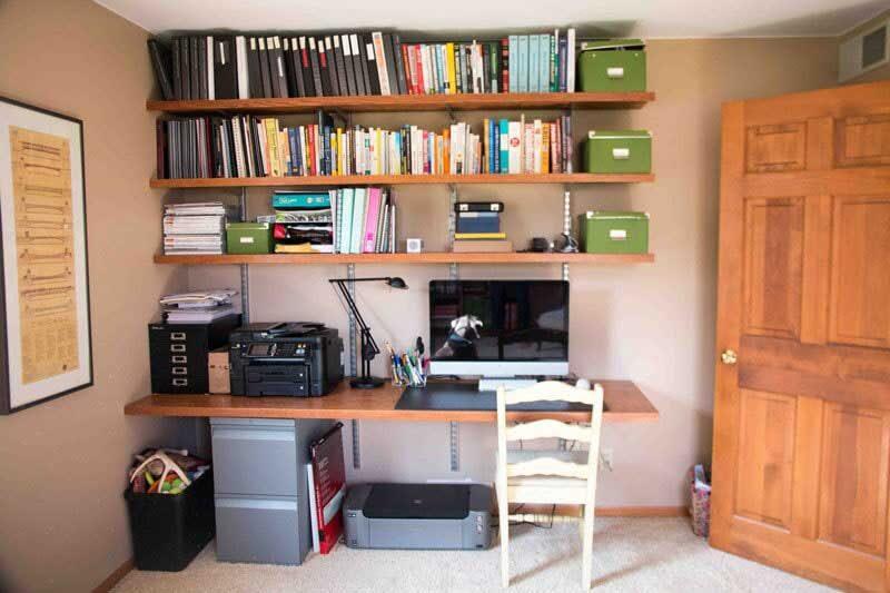built in desk in dark office