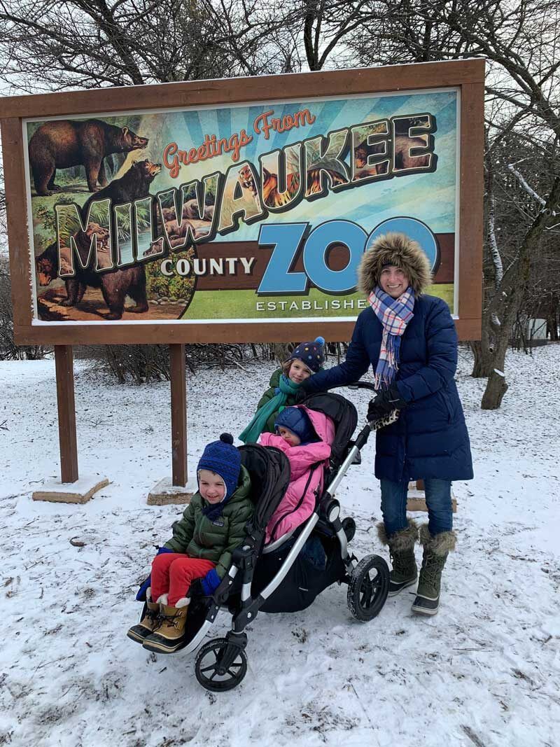 mom pushing stroller with three kids in snow