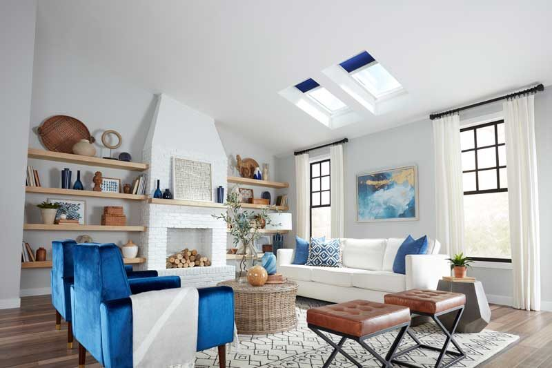 bright white airy living room with VELUX skylights