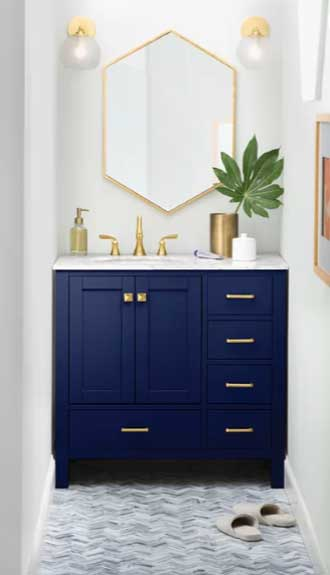 blue bathroom vanity with gold hardware