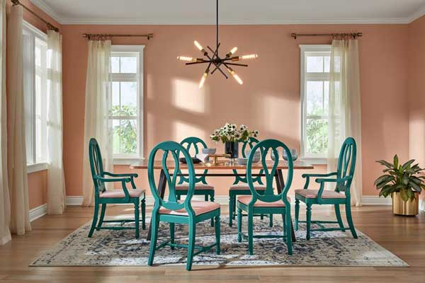 sherwin-williams hgtv romance pink paint color in dining room