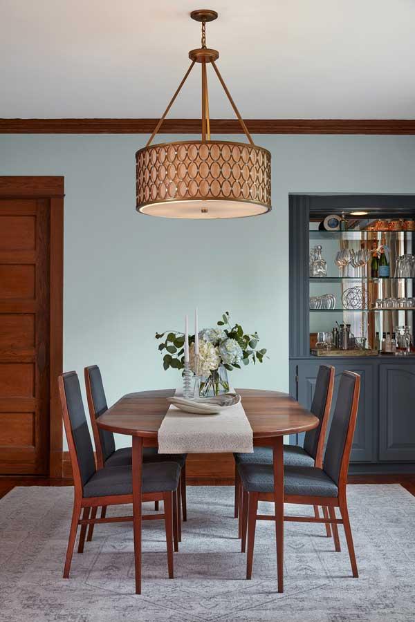 valspar grey brook dining room with wood furniture