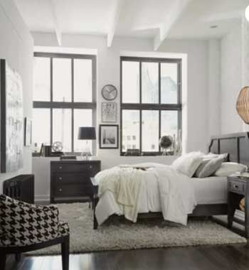 industrial bedroom decor and furniture with white walls