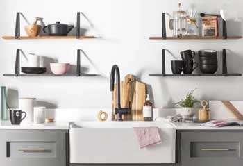 white kitchen walls with industrial shelving