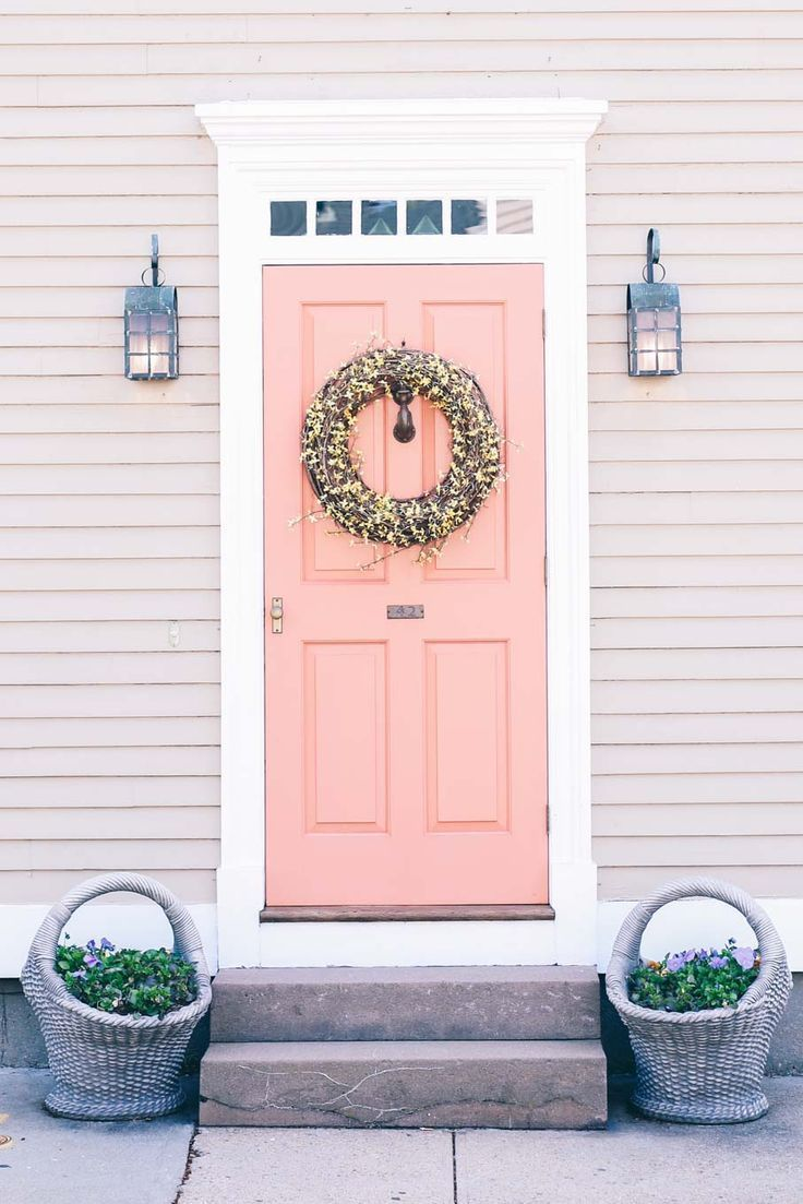 BM dusk pink front door colonial house