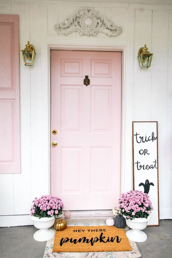 Behr Beloved Pink front door paint color by At Home With Ashley