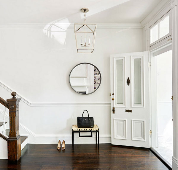 BM Super White foyer with white walls and white trim- design by Stuart Nordin