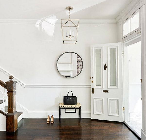 BM Super White foyer with white walls and white trim- design by Stuart Nordin