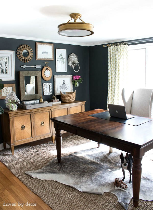 charcoal gray walls in home office- driven by decor