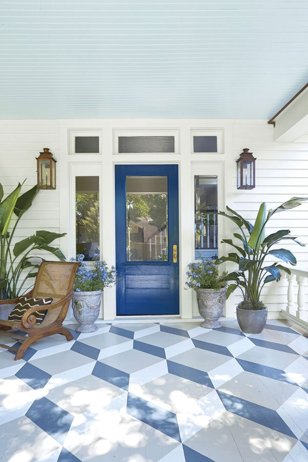 SW Indigo porch door with geometric painted porch floor and light blue ceiling