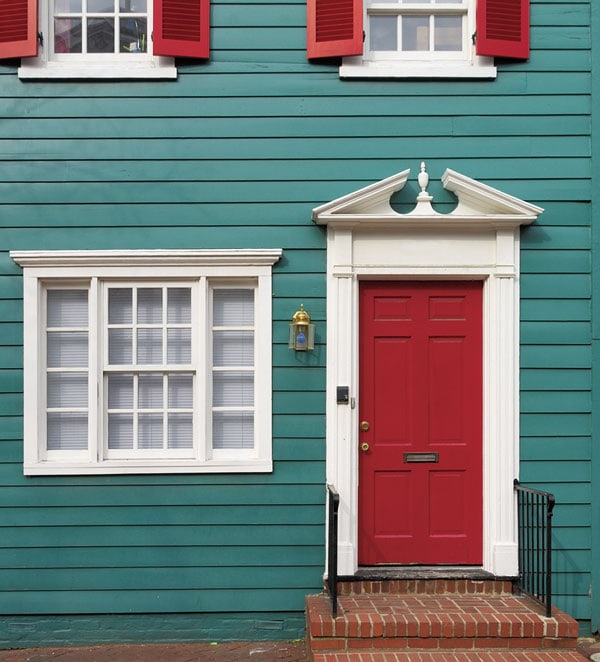 Sherwin-Williams Showstopper red front door