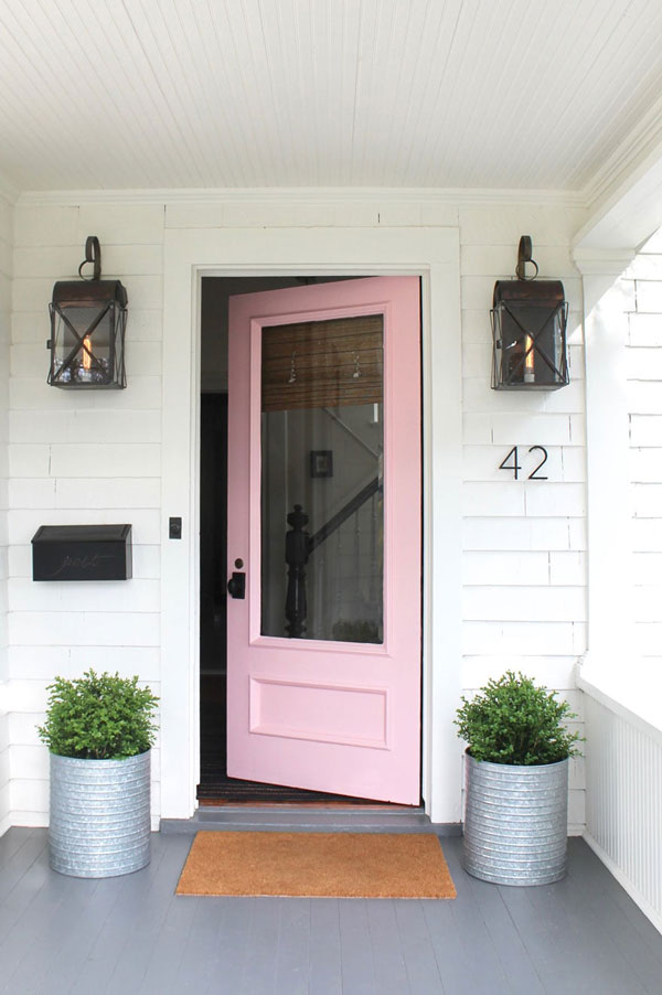Behr Angel Kiss pink front door by Most Lovely Things