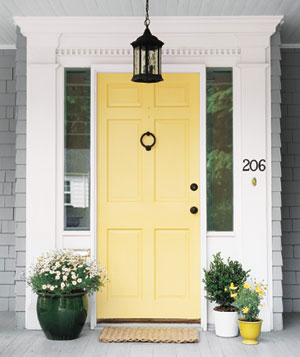 BM Hawthorne Yellow front door from Real Simple