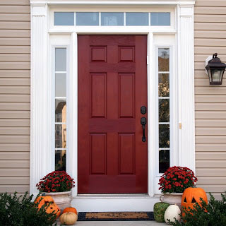 BM Sundried Tomato red front door on colonial by Love Your Room