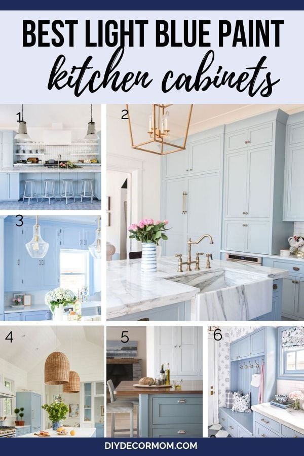 light blue kitchen and kitchen cabinets--see the best pale blue and blue paint shades for your cabinets