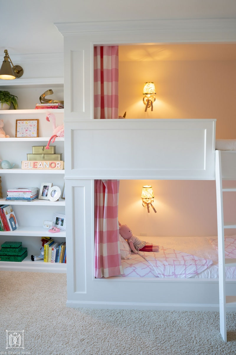 diy bunk bed built-in beds in girls bedroom with bookcase and bunk bed curtains and lights