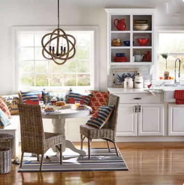 coastal kitchen with white cabinets and nautical sea grass decor
