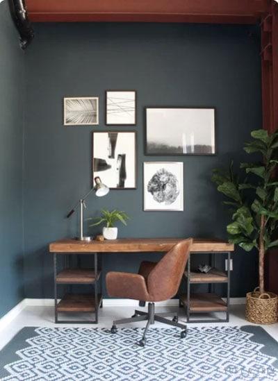 dark green gray office walls