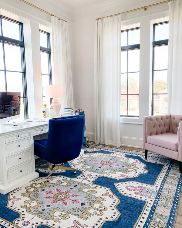 white walls with a slight blush tinge- home office of emily ley