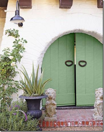 Farrow and Ball Folly Green curved front door