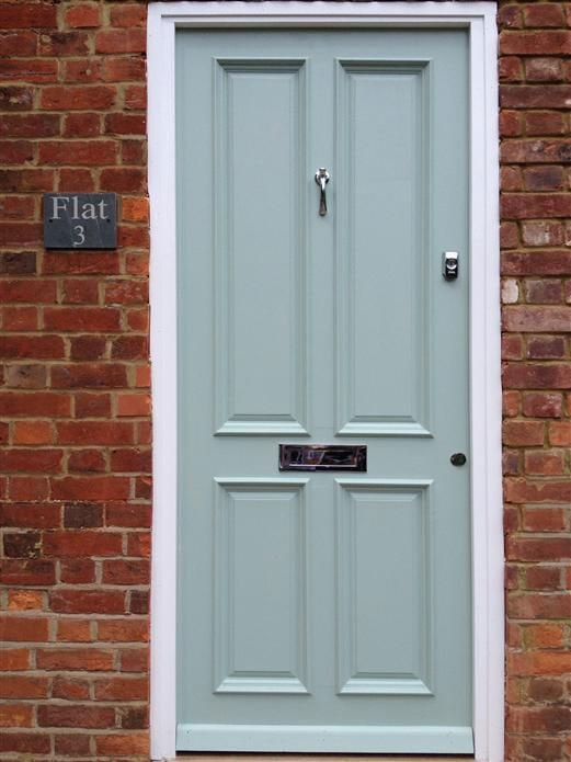 Farrow and Ball Green Blue front door with brick exterior