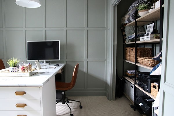 green gray painted walls in home office- chris loves julia