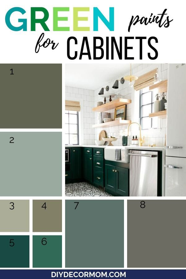 green paint chips for kitchen cabinets including photo of beautiful green cabinets in kitchen with open shelving and white walls