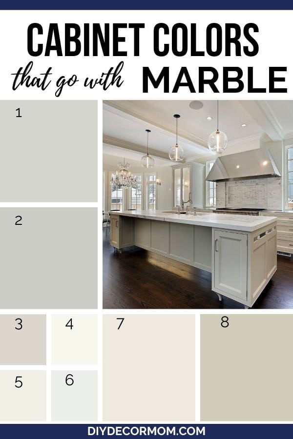 paint shades of gray, white, and greige that go with marble