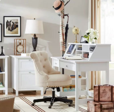 light gray office walls with traditional white desk