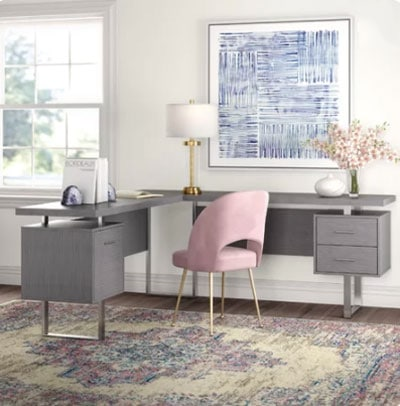 light gray office walls with pink desk chair