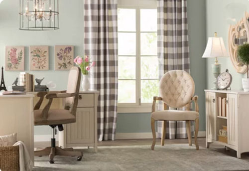 light green office with french country furniture