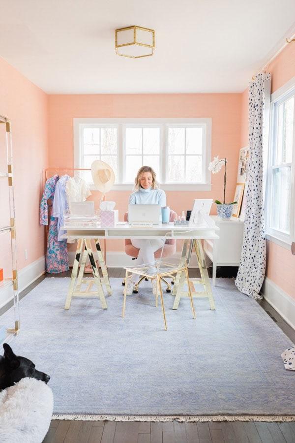 pink office walls with blush wallpaper- lemon stripes