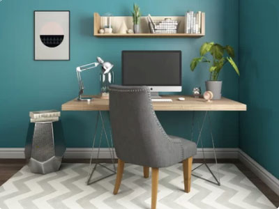 teal home office walls