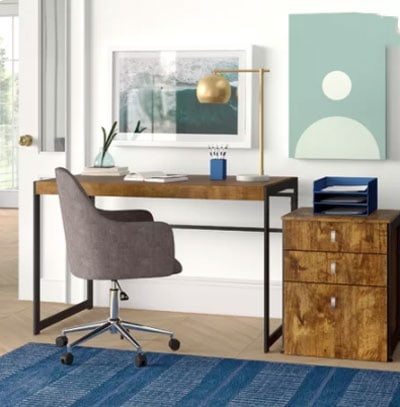 white office with modern industrial wood desk