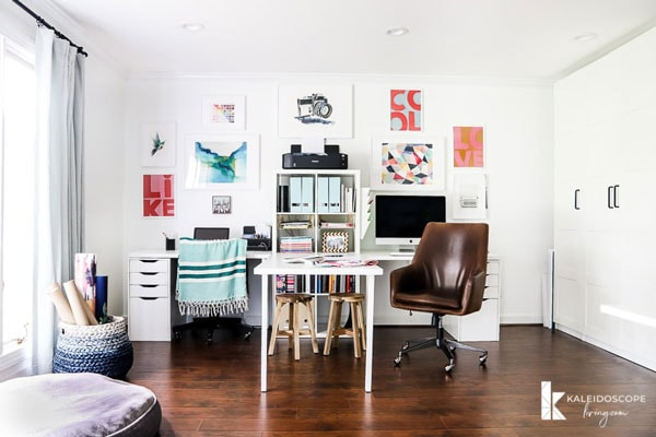 white home office with storage- designer trapped