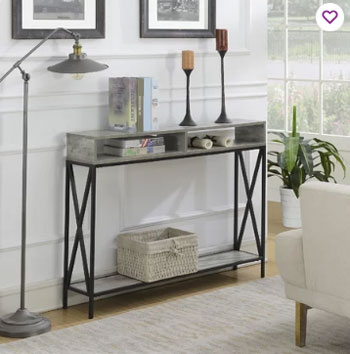 industrial white foyer with console table