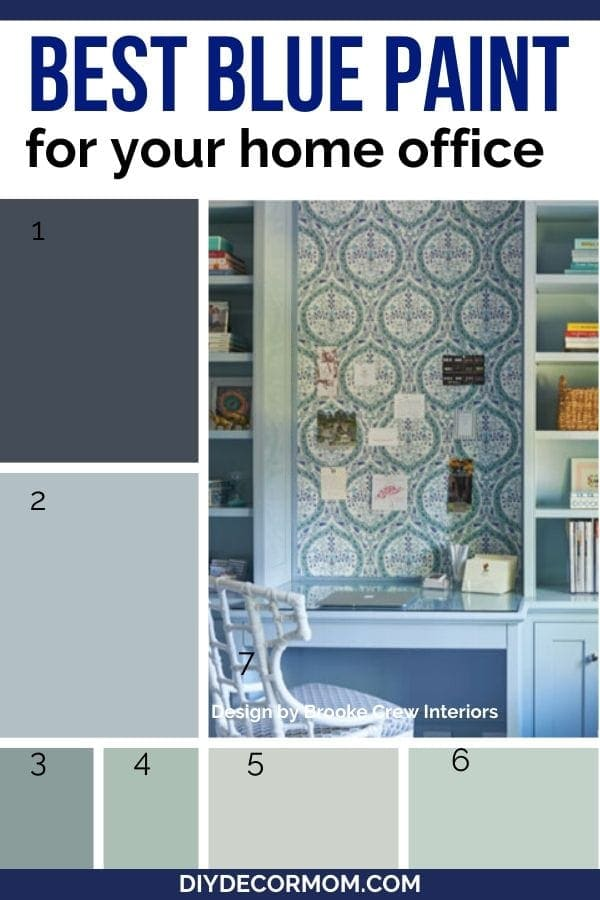 best blue paint for home office including paint chips and gorgeous blue work space