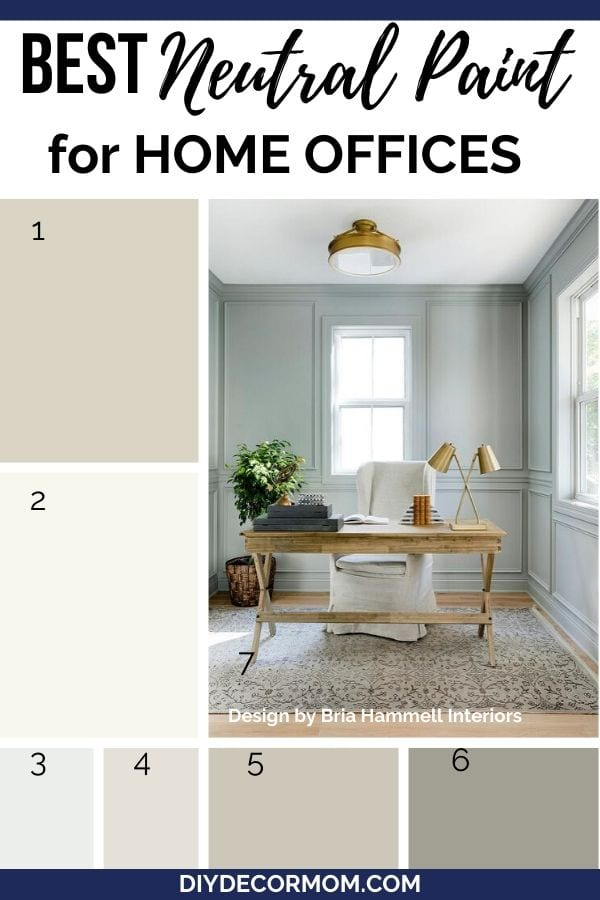best neutral paint colors for productivity in your home office
