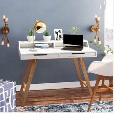 blue gray office with desk