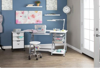 blue gray work room with sewing machine